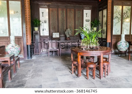 Suzhou, China - circa September 2015: Classical garden in Suzhou, China