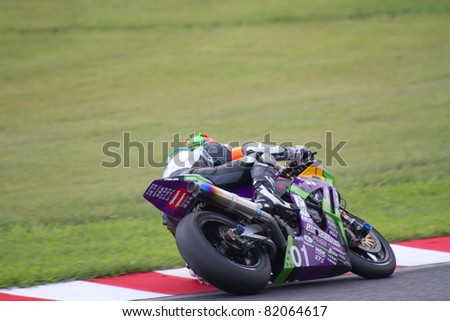 SUZUKA, JAPAN - JULY 31 : Rider of EVA RT TEST TYPE-01 TRICKSTAR FRTR (fifth place team) racing at 2011 Suzuka 8 hours World Endurance Championship Race, on July 31, 2011 in Suzuka Circuit, Japan.
