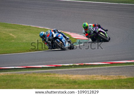 SUZUKA, JAPAN - JULY 29 : Rider of Moto Map SUPPLY (4th place team) racing at 2012 Suzuka 8 hours World Endurance Championship Race, on July 29, 2012 in Suzuka Circuit, Japan.