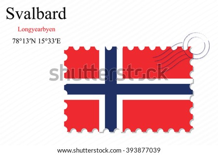 svalbard stamp design over stripy background, abstract art illustration, image contains transparency