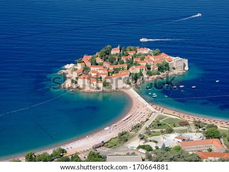 Sveti Stefan fortified village on island, Montenegro - stock photo