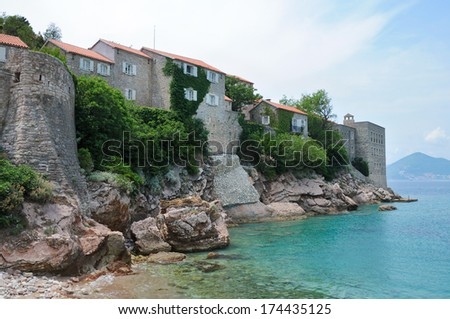 Sveti Stefan island, Adratic sea south of Montenegro - stock photo