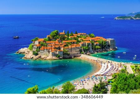 Sveti Stefan island in Budva, Montenegro - stock photo