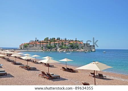 Sveti Stefan island in Montenegro - stock photo