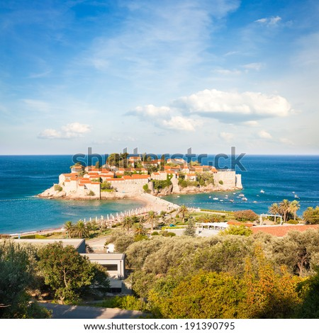 Sveti Stefan Island in Montenegro, Balkans, Adriatic Sea. European Luxury Summer Resort. Mediterranean Travel Concept. Copy Space.