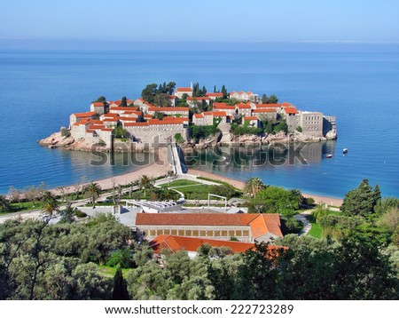 Sveti Stefan island, Montenegro - stock photo