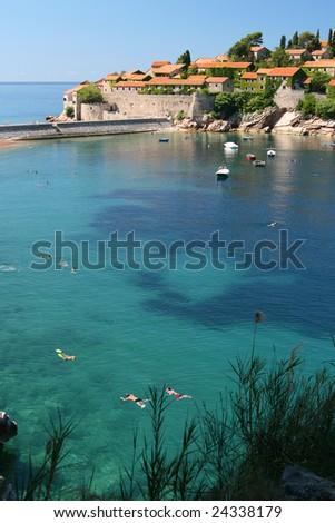 Sveti Stefan island, Montenegro - stock photo