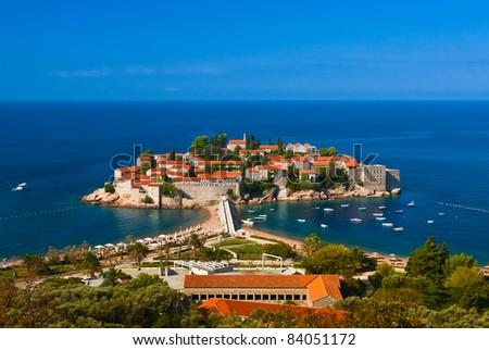 Sveti Stefan island.  Montenegro. Adriatic sea. Mediterranean - stock photo