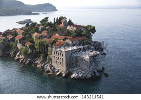 Sveti Stefan, island resort, Montenegro - stock photo