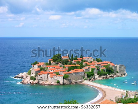 Sveti Stefan island-resort, Montenegro - stock photo