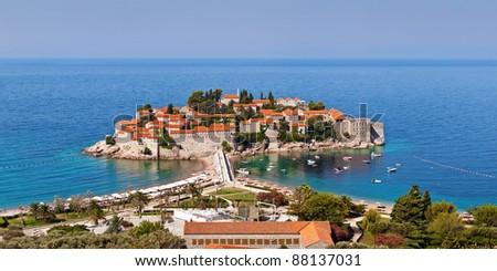 Sveti Stefan resort island hotel in Montenegro - stock photo