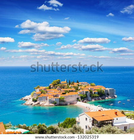 Sveti Stefan, small islet and resort in Montenegro. Balkans, Adriatic sea, Europe. Beauty world. - stock photo