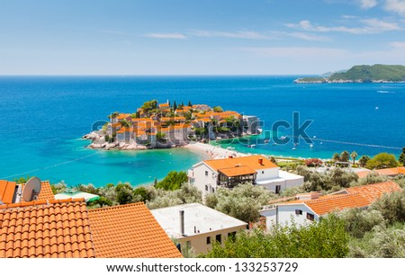 Sveti Stefan, small islet and resort in Montenegro. Balkans, Adriatic sea, Europe. Beauty world.
