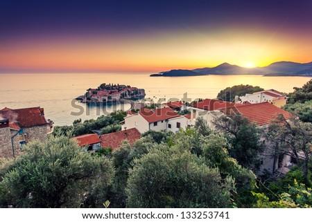 Sveti Stefan, small islet and resort in Montenegro. Balkans, Adriatic sea, Europe. Beauty world - stock photo
