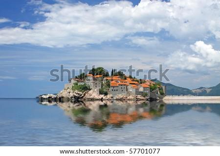 Sveti Stefan (St. Stefan) island in Adriatic sea, Montenegro - stock photo