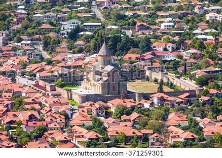 Svetitskhoveli Cathedral aerial view, it is a Georgian Orthodox cathedral located in Mtskheta, Georgia - stock photo