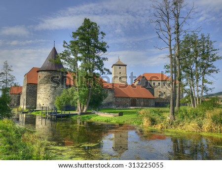 Svihov is one of the youngest Czech castles. It was constructed at the turn of the 15th and the 16th centuries. The Water Castle of Svihov is situated in the Pilsen Region, Czech Republic - stock photo
