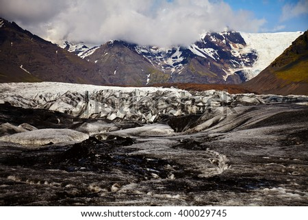 Svinafellsjokull glacier on Iceland - stock photo