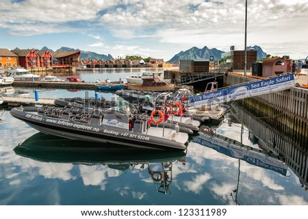 SVOLVAER, NORWAY - JULY 4: RIB-boats moored at Svolvaer harbor on July 4, 2011 in Lofoten. RIB-boat safaris to explore Trollfjorden and to watch sea eagles is a popular tourist attraction in Svolvaer.