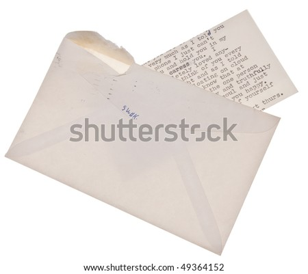 SWAK means sealed with a kiss, and that is just what this love letter is. - stock photo
