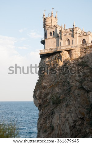 Swallow's Nest castle built in 1911-1912 on top of 40-metre high Aurora cliff, Crimea