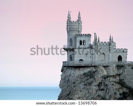 Swallow's Nest Castle Side-view in Sunset gradient filter - stock photo