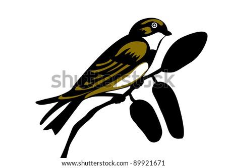 swallow silhouette on white background - stock photo