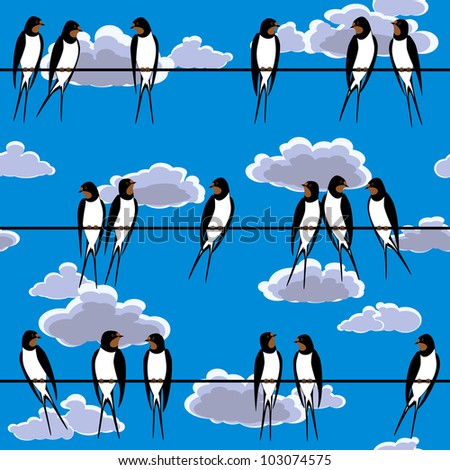 swallows perched on a wire seamless - stock photo