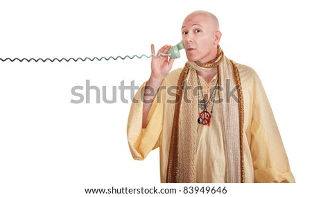 Swami on phone call over white background - stock photo