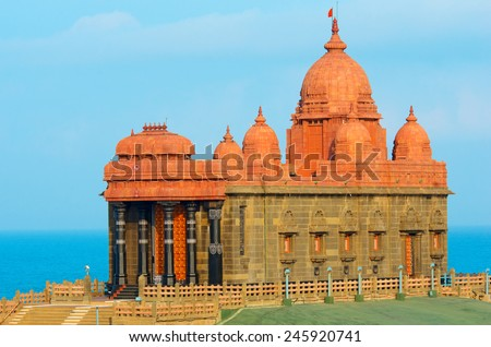 Swami Vivekananda memorial in Mandapam, Kanyakumari, Tamil Nadu, India  - stock photo