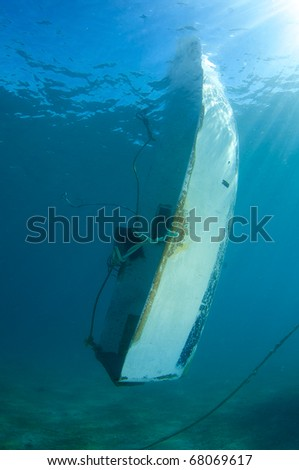 Swamped Dinghy - stock photo