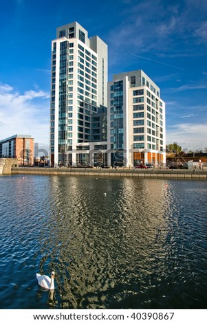Swan canal in front of modern Building in Liverpool - stock photo