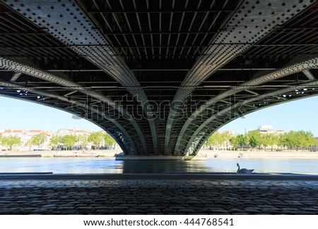 Swan under an old, steel bridge over the Rhone river in Lyon. - stock photo