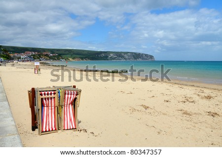 Swanage Beach, Dorset, at the start of the holiday season. Part of the UNESCO Jurassic coast - stock photo