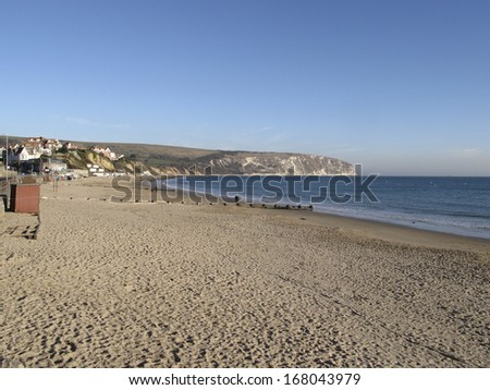 Swanage beach in the autumn - stock photo
