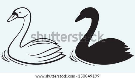 Swans on pond isolated on blue background. Raster version - stock photo