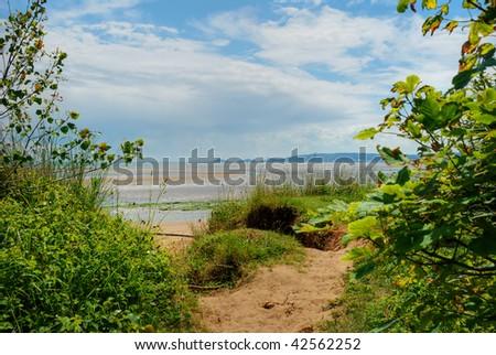 Swansea Beach, UK, on a bright summer's day - stock photo