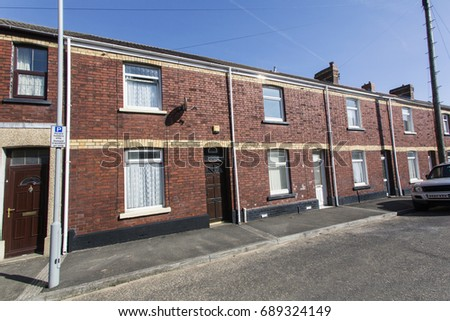 Swansea, UK: March 2016: Traditional Red Brick Terraced Houses in Wales.