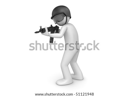 SWAT assault (3d characters isolated on white background series) - stock photo