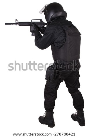 SWAT officer in black uniform isolated on white