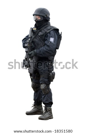 Swat soldier on white background - stock photo