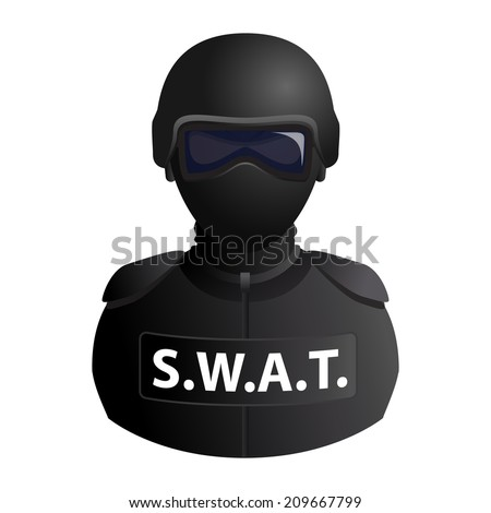 SWAT (Special Weapons And Tactics) special forces avatar in a mask with glasses icon isolated on white background. illustration - stock photo