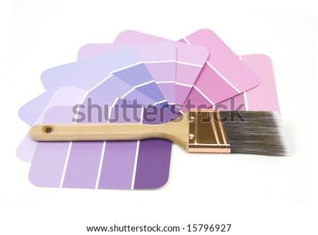 Swatches and Brush (focus on brush) - stock photo