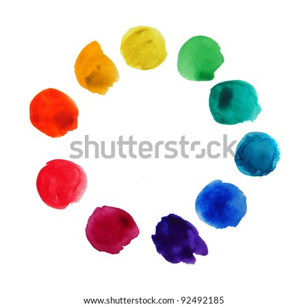 swatches of watercolors - stock photo