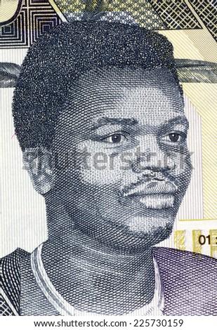 SWAZILAND - CIRCA 2006: Mswati III (born 1968) on 10 Emalangeni 2006 Banknote from Swaziland. King of Swaziland. - stock photo