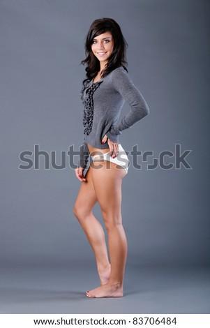Sweater fashion with panties - stock photo