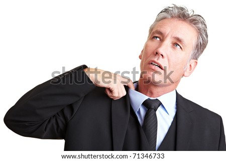 Sweating manager pulling his shirt with his finger - stock photo