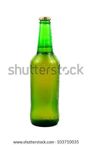 Sweaty bottle of beer. Isolated on white background - stock photo
