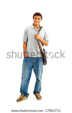 Sweaty, Happy Casual Dressed Young Black College Student Isolated on White Background - stock photo