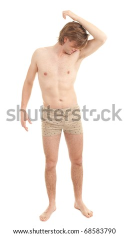 sweaty man checking scent, or he does not stink - stock photo